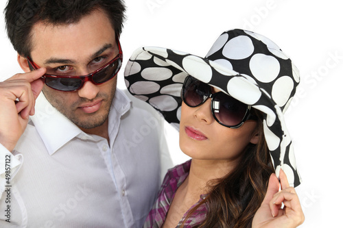Young man and young woman fashionable