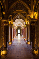 Fairytale corridor of Monserrate Palace in Sintra town, Portugal