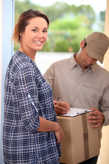 Woman receiving package