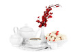 Beautiful white dinner service with an air meringues isolated