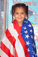 Afro-American girl with a American flag