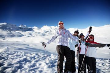 teenagers on a ski vacation