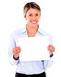 Businesswoman with a banner