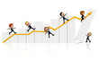 3D Business people with a growth graph