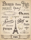 Paris calligraphy - set of hand-lettered design elements