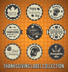 Vector Set: Happy Thanksgiving Day Labels