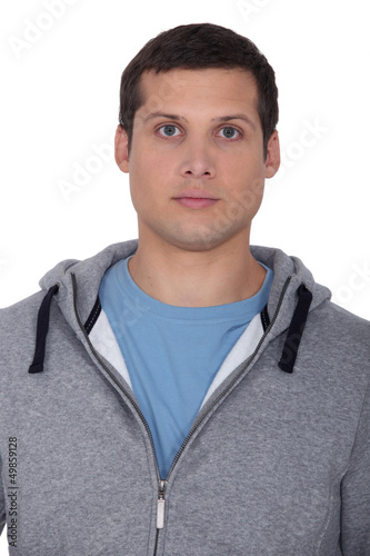 Man wearing hooded top