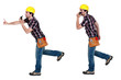 Two images of a construction worker with a walkie talkie