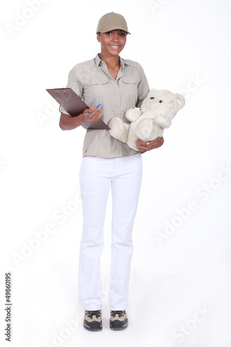 Woman delivering a teddy