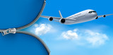 Travel background with airplane on blue sky. Vector