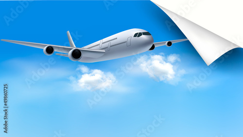 Background with airplane on blue sky. Travel concept. Vector