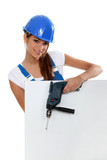 Attractive model with drill and poster