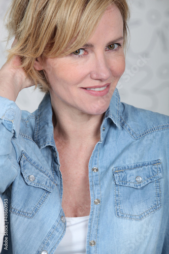 Woman in a denim shirt