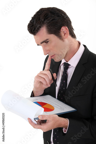 Man analyzing pie-chart