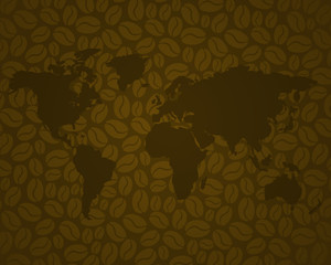 coffee background 3 with brown world map