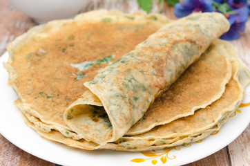 crepes with spinach closeup
