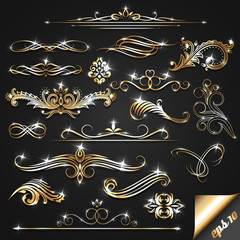 Set of golden ornate design elements