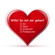 Herz, Willst Du mit mir gehen, Herzform, Form, Spruch, Text, Rot