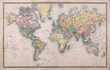 Leinwanddruck Bild - Old Antique World Map on Mercators Projection