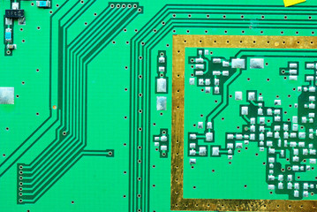 Close up on a processor line of the old electronic circuit board