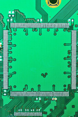 Close up on a regtangle of the old electronic circuit boards  ba