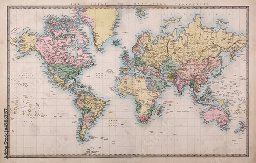 Leinwanddruck Bild Old Antique World Map on Mercators Projection