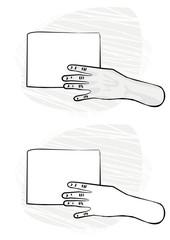 pusta kartka papieru w lewej dłoni monochrom ilustracja