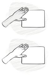 pusta kartka papieru dłoń na płaszczyźnie monochrom