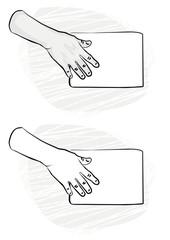 pusta kartka papieru w prawej dłoni monochrom ilustracja