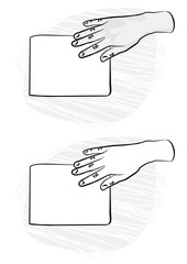 pusta kartka papieru prawa dłoń na płaszczyźnie monochrom