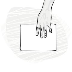 pusta kartka papieru dłoń z góry ilustracja monochrom