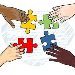 cztery ręce układanka puzzle ilustracja kolor