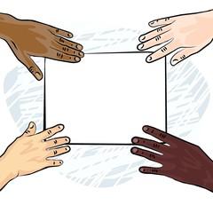 cztery ręce pusta kartka papieru ilustracja kolor