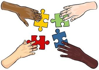 cztery ręce puzzle białe tło ilustracja kolor