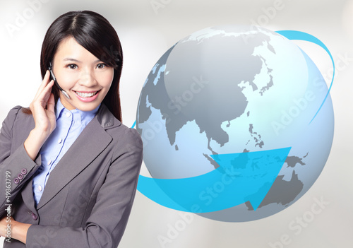 business woman operator with globe