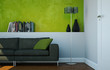 canvas print picture - modernes Sofa vor grüner Wand