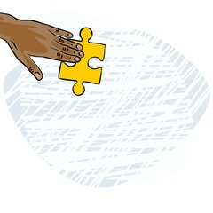 dłoń amerykanina azjaty żółte puzzle ilustracja kolor