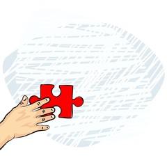 dłoń europejczyka czerwone puzzle ilustracja kolor