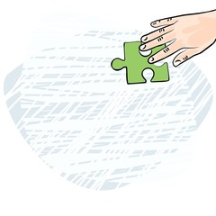 dłoń rasa kaukaska zielone puzzle ilustracja kolor