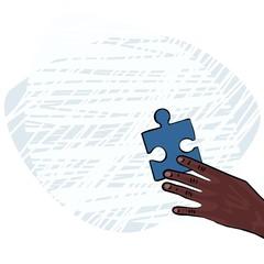 dłoń rasa afrykańska niebieskie puzzle ilustracja kolor