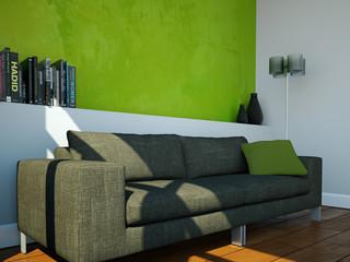 modernes Sofa vor grüner Wand