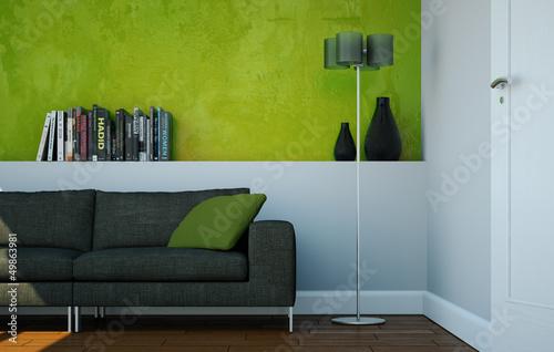 canvas print picture modernes Sofa vor grüner Wand