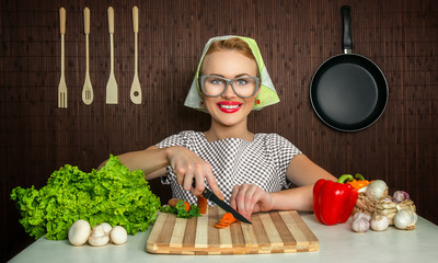 Happy funny woman cook working