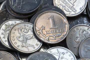 Many Russian coins one copeck