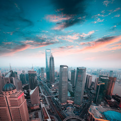 shanghai financial center in sunset