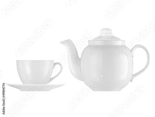 Teapot and cup on a white background