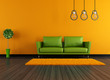 Modern green and orange livingroom