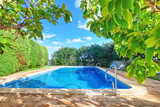 Fototapety Outdoor swimming pool with blue water near the garden.