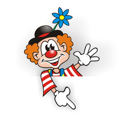 Clown pointing on board