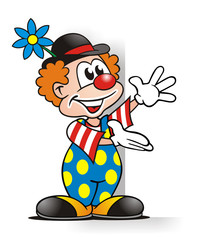 Clown presenting Board